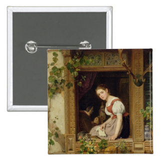 Dreaming on the windowsill pinback buttons