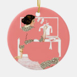 Dreaming Double-Sided Ceramic Round Christmas Ornament
