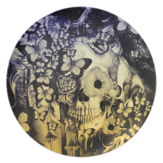 Dreaming, skull in the forest illustration party plates