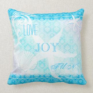 Dreaming Starfish Blue Damask Beach House Cushions Pillows