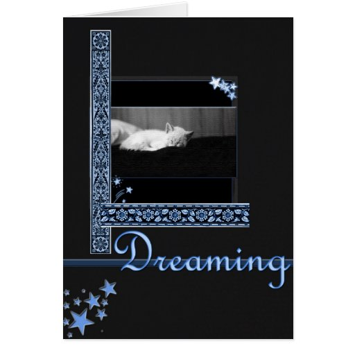 Dreaming (starry night) greeting cards