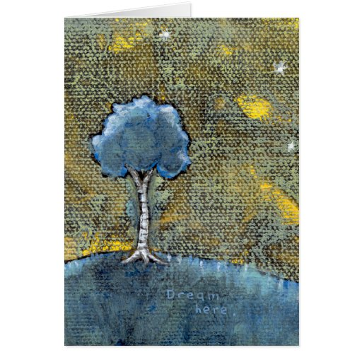 Dreaming tree art modern painting for dreamers card