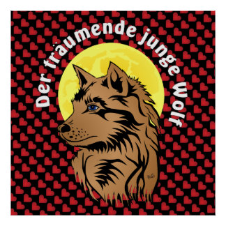 dreaming wolf puppy poster