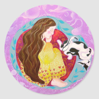 Dreaming Woman and Cat. Classic Round Sticker
