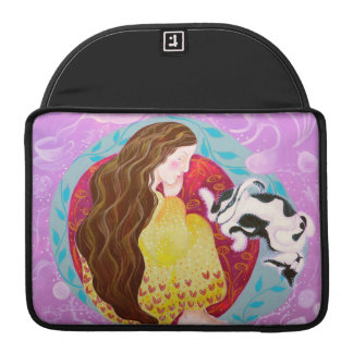 Dreaming Woman and Cat. Sleeves For MacBooks