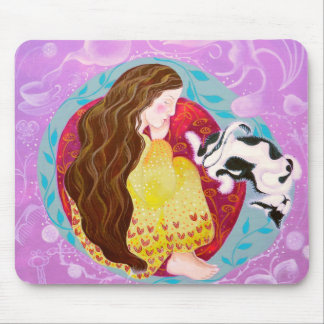 Dreaming Woman and Cat. Mouse Pad