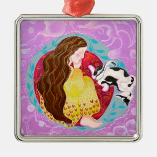 Dreaming Woman and Cat. Christmas Ornaments
