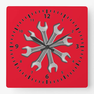 Dreaming Wrenches Square Wall Clock