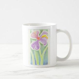 Dreamlike Stained Glass Iris Flower Drawing Classic White Coffee Mug