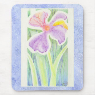 Dreamlike Stained Glass Iris Flower Drawing Mouse Pad