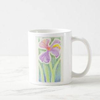Dreamlike Stained Glass Iris Flower Drawing Coffee Mugs