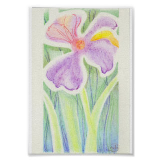 Dreamlike Stained Glass Iris Flower Drawing Poster