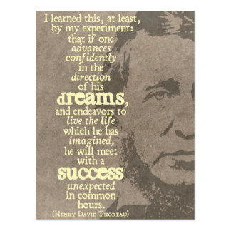 Dreams and success - Thoreau quote postcard