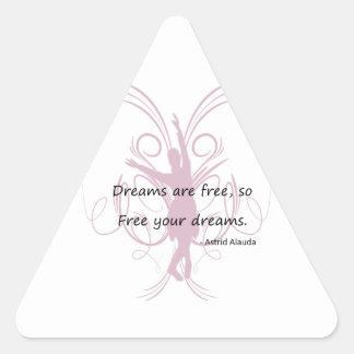 Dreams are Free Triangle Stickers