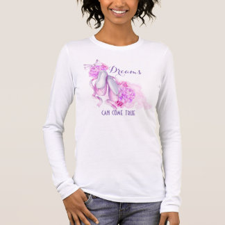 Dreams Can Come True Ballet Slippers in Watercolor Long Sleeve T-Shirt
