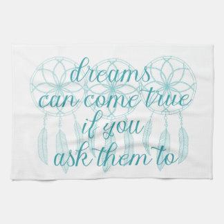 Dreams Can Come True Teal Slogan Dreamcatcher Towel
