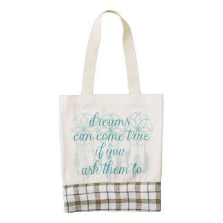 Dreams Can Come True Teal Slogan Dreamcatcher Zazzle HEART Tote Bag