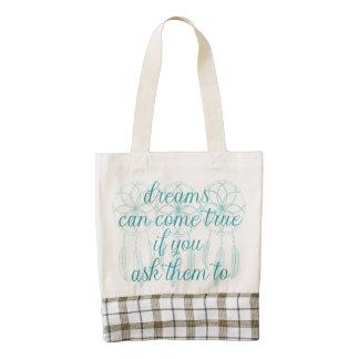 Dreams Can Come True Teal Slogan Dreamcatcher Zazzle HEART Tote Bag