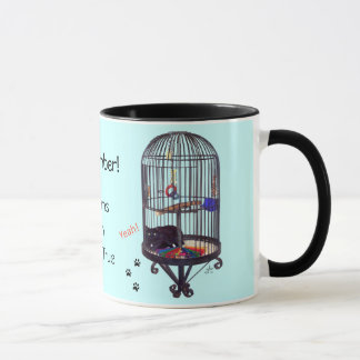 Dreams Come True, Black Cat in Bird Cage Mug