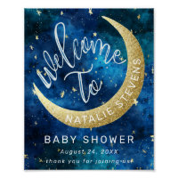 Dreams Come True Moon Stars Baby Shower Welcome Poster