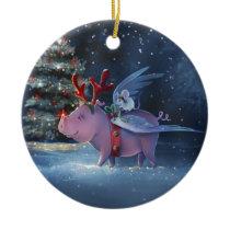Dreams Come True Unique Flying Pig Christmas Ceramic Ornament