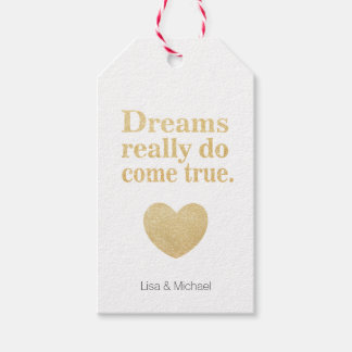 Dreams do come ture sweet heart personalized gift tags