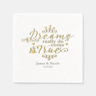 DREAMS REALLY DO COME TRUE Gold Princess Napkins