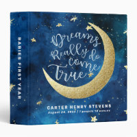 Dreams Really Do Come True Moon Stars Baby Album 3 Ring Binder