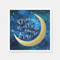 Dreams Really Do Come True Moon Stars Baby Shower Napkin