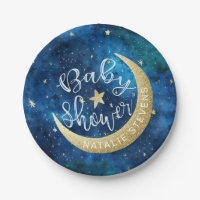 Dreams Really Do Come True Moon Stars Baby Shower Paper Plate