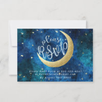 Dreams Really Do Come True Moon Stars Baby Shower RSVP Card