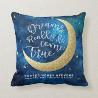 Dreams Really Do Come True Moon Stars Personalized Throw Pillow