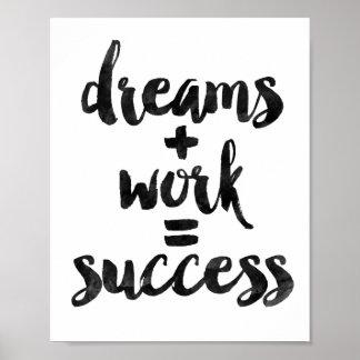 Dreams + Work = Success Poster