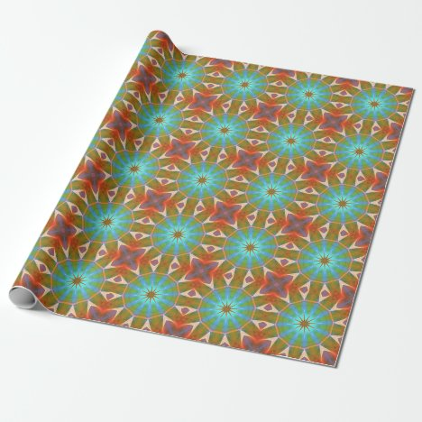Dreamsicle Peach Gemstone Abstract Modern Flowers Wrapping Paper