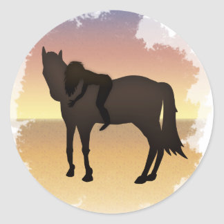 Dreamteam - A girl and her beloved horse Classic Round Sticker