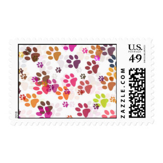DREAMTIME PAW PRINT BACKGROUND POSTAGE STAMP