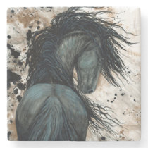 DreamWalker Friesian Horse by Bihrle Stone Coaster