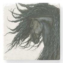 DreamWalker Friesian Horse by Bihrle Stone Coaster