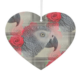 Dreamy African Grey with Red Roses