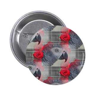 Dreamy African Grey with Red Roses Pins