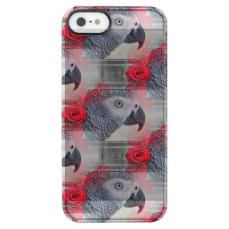 Dreamy African Grey with Red Roses Clear iPhone SE/5/5s Case