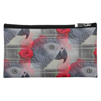 Dreamy African Grey with Red Roses Cosmetic Bag