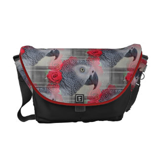 Dreamy African Grey with Red Roses Courier Bag