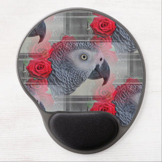 Dreamy African Grey with Red Roses Gel Mouse Pad