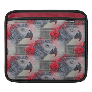 Dreamy African Grey with Red Roses iPad Sleeve