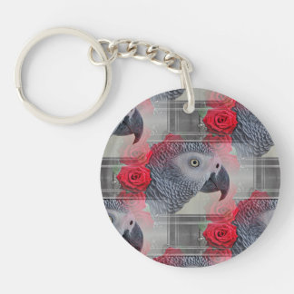 Dreamy African Grey with Red Roses Keychain