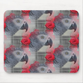 Dreamy African Grey with Red Roses Mouse Pad