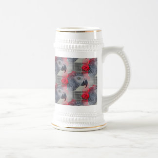 Dreamy African Grey with Red Roses 18 Oz Beer Stein