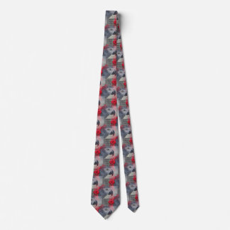 Dreamy African Grey with Red Roses Neck Tie