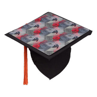 Dreamy African Grey with Red Roses Graduation Cap Topper